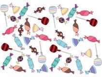 Покрашенный мультфильмом сахар карамельки lolipop конфеты doodle набора искусства сладкий иллюстрация штока