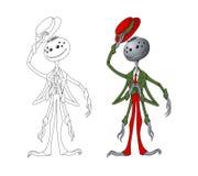 Покрашенный паук в стиле мультфильма Насекомое гуманоида Изображение изолированное вектором иллюстрация штока