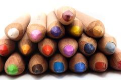 покрашенный передний взгляд карандашей Стоковое фото RF