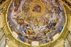 Покрашенный потолок Duomo Неаполь Стоковая Фотография RF