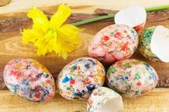Покрашенный рукой цветок пасхальных яя и narcissus Стоковые Фото