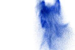 Покрашенный синью взрыв песка изолированный на белой предпосылке Стоковое Изображение