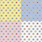 Покрашенный стильный безшовный пинк вектора, желтый цвет, голубая предпосылка с стоцветом цветет, малые милые цветки иллюстрация вектора