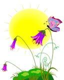 Покрашенный лужок с солнцем, цветками и бабочками Стоковые Фото