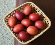 Покрашенный цыпленок коричневых яичек Покрашенная кожа лука Пасха Стоковое фото RF