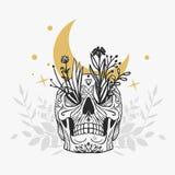 Покрашенный череп с цветками, луной и звездами Стоковые Изображения