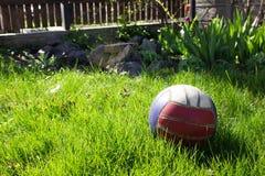 Покрашенный шарик на траве в дворе Стоковое Изображение