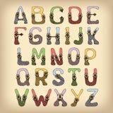 Покрашенный шрифт алфавита эскиза Стоковые Изображения RF