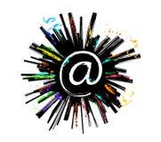 покрашенный эскиз взрыва электронной почты Стоковая Фотография