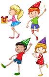 Покрашенный эскиз детей празднуя Стоковая Фотография