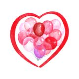 Покрашенный эскиз иллюстрации карандашей красного пинка и прозрачных воздушных шаров в форме сердца бесплатная иллюстрация
