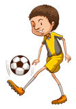 Покрашенный эскиз мальчика играя футбол Стоковое Фото