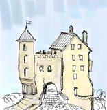 Покрашенный эскиз средневекового замка с мостом бесплатная иллюстрация
