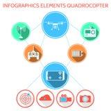 Покрашенный infographic для комплекта quadrocopter Стоковое Изображение