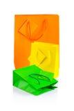 3 покрашенных бумажных изолированной сумки Стоковое Изображение
