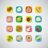 16 покрашенных значков плодоовощей с тенью вкусно иллюстрация Стоковое Изображение