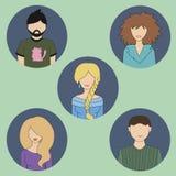 5 покрашенных значков людей Стоковое Изображение