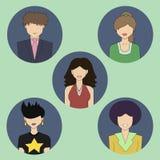 5 покрашенных значков людей Стоковые Изображения