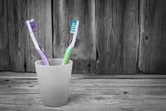 2 покрашенных зубной щетки в пластичной чашке Стоковое Фото