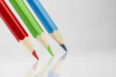 3 покрашенных карандаша в цветах RGB Стоковые Изображения RF
