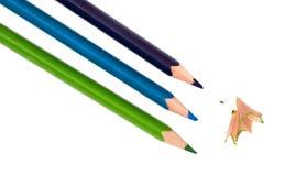 3 покрашенных карандаша Стоковые Фотографии RF
