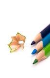 3 покрашенных карандаша Стоковая Фотография
