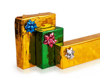3 покрашенных красивых коробки с подарками Стоковые Изображения RF