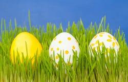3 покрашенных пасхального яйца в траве Стоковые Фотографии RF