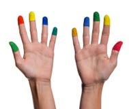 2 покрашенных руки женщины Стоковое Фото