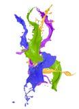Покрашено брызгает в абстрактной форме стоковое изображение