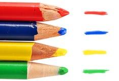 покрашено 4 карандашам Стоковая Фотография