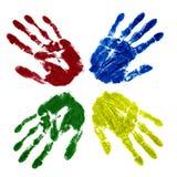 покрашено 4 рукам Стоковая Фотография RF
