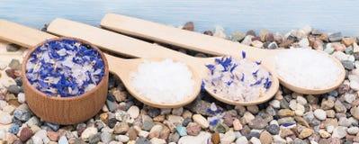 Покройте и 3 деревянных ложки с солью моря для процедур по курорта Стоковые Фотографии RF
