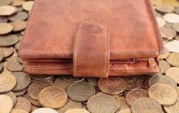 покройте кожей бумажник Стоковые Фотографии RF