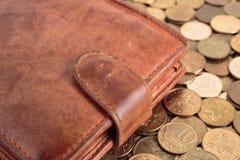 покройте кожей бумажник Стоковая Фотография RF