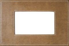 Покройте кожей покрытую картинную рамку сшитую на бортовой текстуре Стоковые Фотографии RF