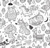 Покройте краской безшовную картину с йети, единорогом, драконом, русалкой, ламой и ленью в стиле шаржа также вектор иллюстрации п бесплатная иллюстрация