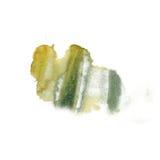 Покройте краской текстуру нашлепки пятна макроса акварели краски желтого цвета зеленого цвета watercolour splatter жидкостную изо Стоковая Фотография RF