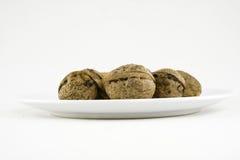 покройте некоторые грецкие орехи белые Стоковое Изображение