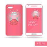 Покройте передвижной smartphone с смешным человеческим мозгом и электрической молнией в стиле шаржа на белой предпосылке иллюстрация штока
