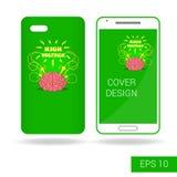 Покройте передвижной smartphone с смешным человеческим мозгом и электрической молнией в стиле шаржа на белой предпосылке иллюстрация вектора