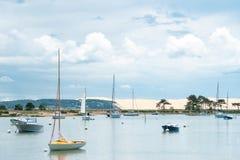 Покройте фретку, залив Arcachon, Францию, перед дюной Pilat Стоковые Изображения RF