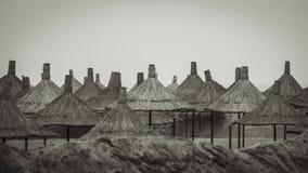 Покрыванные соломой зонтики пляжа Стоковые Изображения