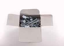 покрынное cardborad коробки привинчивает деревянный цинк Стоковое фото RF