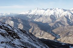 покрынный снежок горной цепи Стоковая Фотография RF