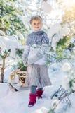 покрытая зима сказа снежка дома fairy пущи деревянная Красивая маленькая девочка идет в снежный лес Стоковое Изображение RF