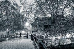покрытая Снег улица ночи в взгляде страсбурга черно-белом Стоковые Фотографии RF