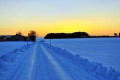покрытая улица снежка Стоковая Фотография