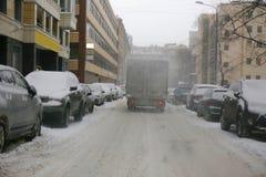 покрытая улица снежка Стоковое Фото