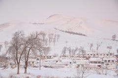 покрытое село снежка Стоковое Изображение